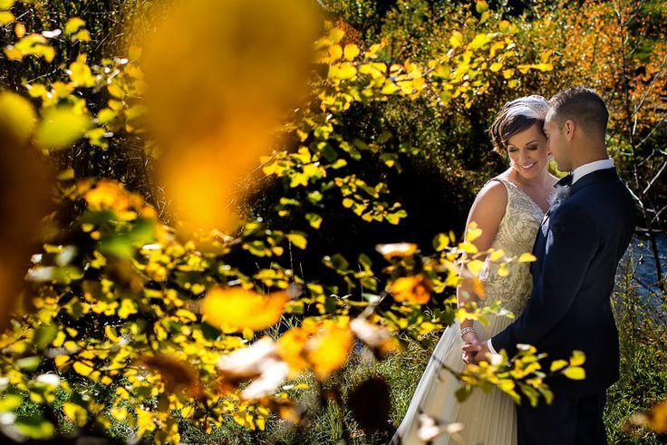 Bride, groom and fall leaves. #fall #bride #groom #wedding #outdoor