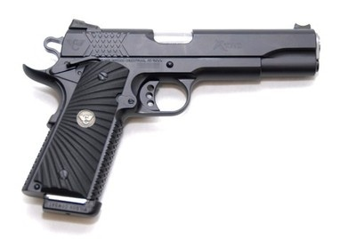 Wilson Combat X-Tac  A high end 1911 offered by Wilson Combat. Very unique grip textures on the front and back strap. Almost looks like a tire tread. Like the many companies that sell custom 1911's, Wilson Combat claims this style patten of grip offers a much more comfortable and secure feeling than other grips. Not a cheap 1911 by any means;