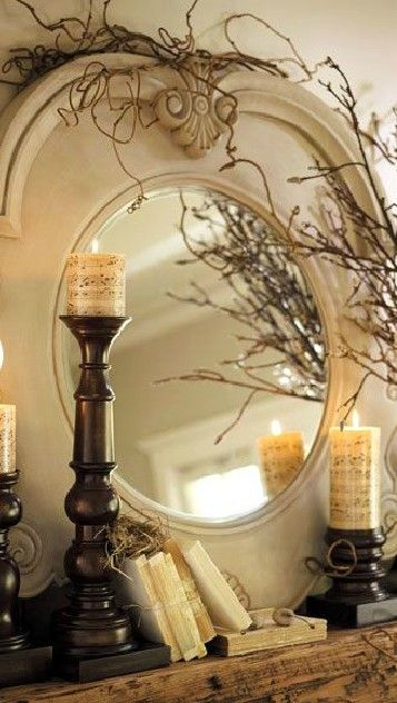 .I just love sticks and twigs and all things tree-ey!: Mirror Mirror, Music Note, Coffee Beans, Candles Holders, Sheet Music, Mason Jars, Music Sheet, Music Candles, Beautiful Mantels