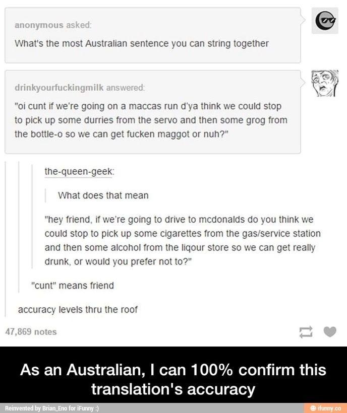 I'm Australian