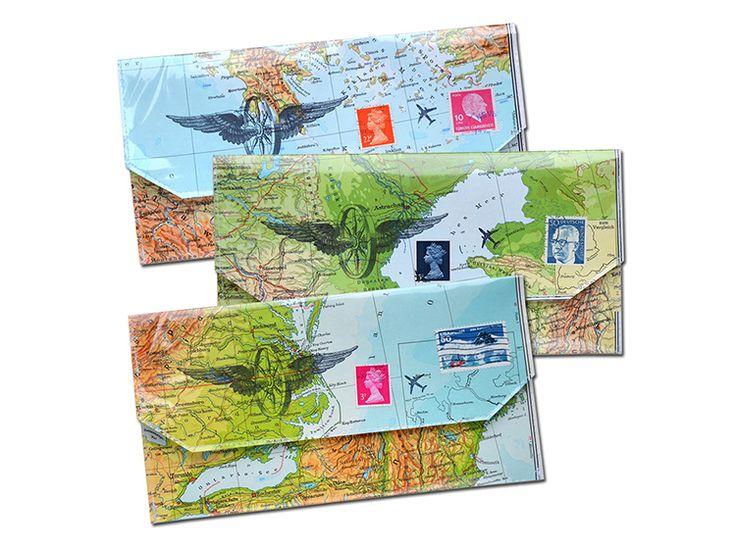 Taschenorganizer - Reiseetui aus Landkarten - ein Designerstück von renna-deluxe bei DaWanda