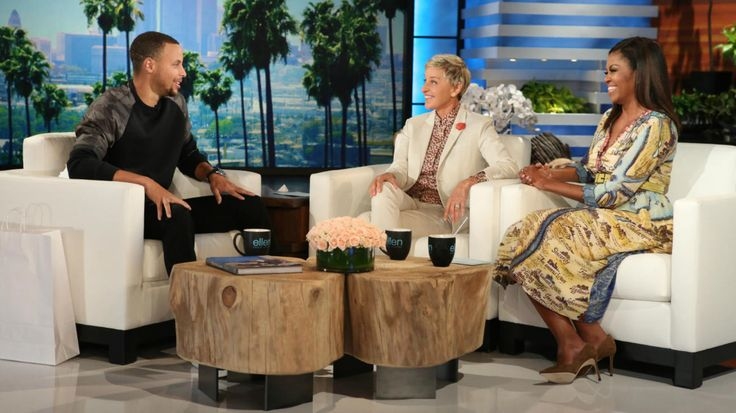 Stephen Curry and Michelle Obama on The Ellen DeGeneres Show at 4 p.m. PST on NBC. A preview of Tuesday's Ellen DeGeneres Show shows Golden State Warriors star Stephen Curry trash-talking President Barack Obama about his golf game, only to be overshadowed by First Lady Michelle Obama who dissed her hubby even more over his large ears.