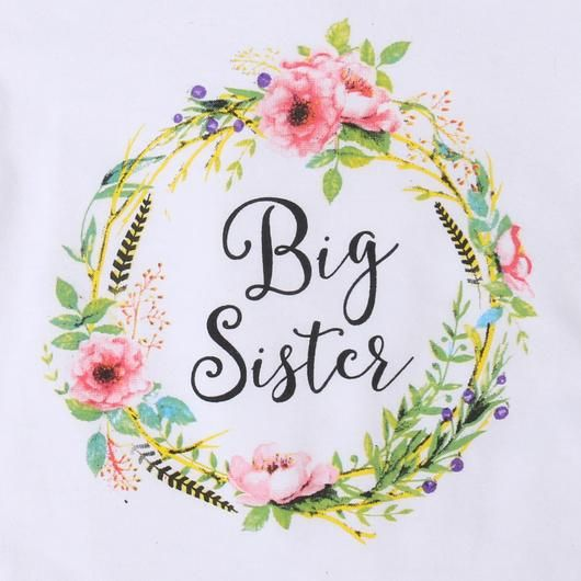 """Big Sister"" Floral T-Shirt - Girls"