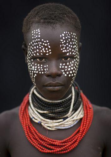 Karo girl with tribal make up - Ethiopia