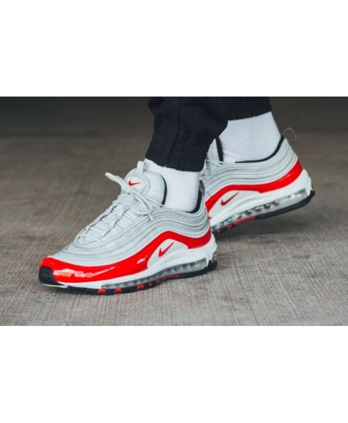 4f2896fb15 Men's Nike Air Max 97 Pure Platinum University Red Trainer | black ...