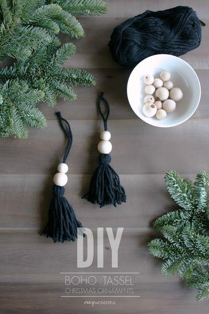 Crazy Wonderful: DIY boho christmas ornaments, tassel christmas ornaments, yarn tassels