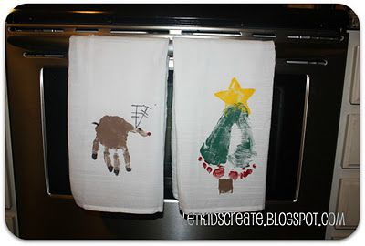 Homemade gift- hand and foot stamped dish towels. Gifts for the grandparents!