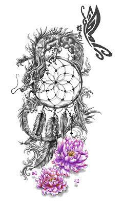 Dreamcatcher and Dragon Tattoo Design
