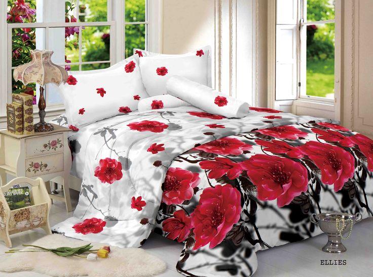 """ELLIES - """"Elise design mewah dengan background warna putih serta bunga merah dan shading hitam, menjadikan kamar anda yang biasa menjadi Luxury"""""""