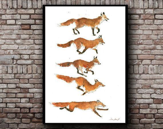 Füchse  Rotfuchs Tiere  Wald Tier  Fuchs-Aquarell  von JuanBosco