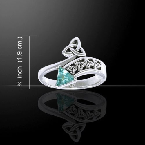 Celtic Knot Triquetra Ring .925 Sterling Silver with Blue Topaz Gem - Trinity Knot Ring