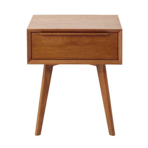 Nachttisch im Vintage-Stil aus massiver Eiche mit Schublade, B 45cm