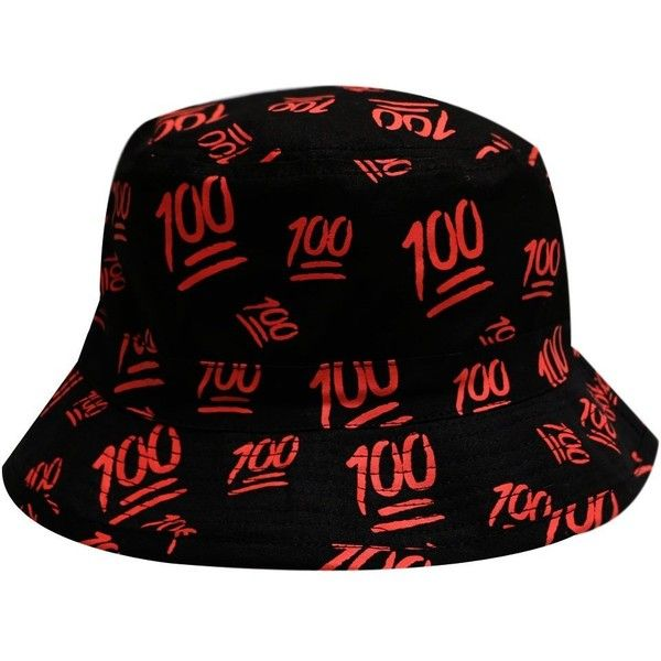 City Hunter Bd1280 Emoji 100 All Over Bucket Hat Black ($12) ❤ liked on Polyvore featuring accessories, hats, black bucket hat, fisherman hat, black fisherman hat, black hat and fishing hats