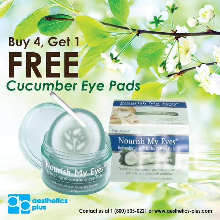 Buy 4 get 1 FREE! Cucumber eye pads.   These soothing, pre-moistened pads contain gentle, natural extracts plus Green Tea to fight free radicals, and Mulberry to decrease puffiness and lighten under-eye circles. Choose the Cucumber & Green Tea for a relaxing cool-down at the end of the day!   Call 800-535-0221 or visit www.aesthetics-plus.com to order! Tag PhotoAdd LocationEdit