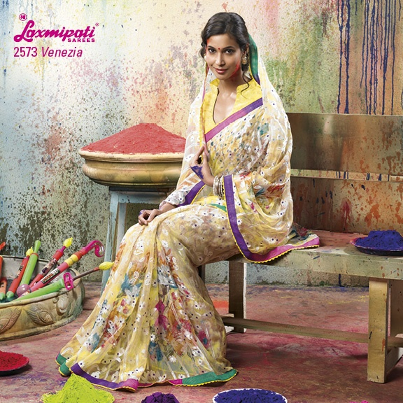 LP_2573 - THE VINTAGE LOOK BRASSO SAREE WITH LIGHT BLUE COLOR