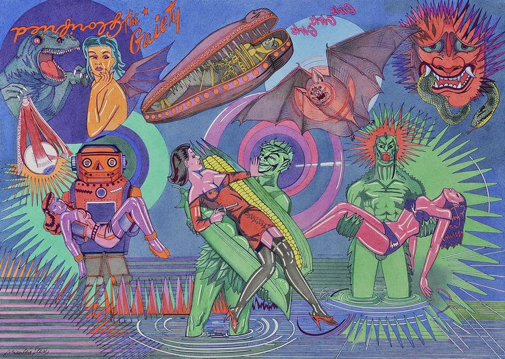 """""""Mujeres agredidas en la ciénaga"""", representa imágenes de tres mujeres secuestradas por personajes procedentes de cómics como Amazing Stories, o en el centro por el Gigante Verde"""