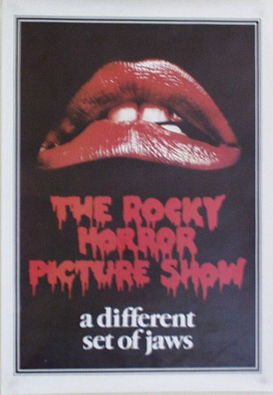 "Rocky Horror Picture Show - One Sheet Australian Poster (Style A).  Size: 38"" x 26"". Printed in Australia (1976). Description: Lips and logo on black background. Thick white border around edge."