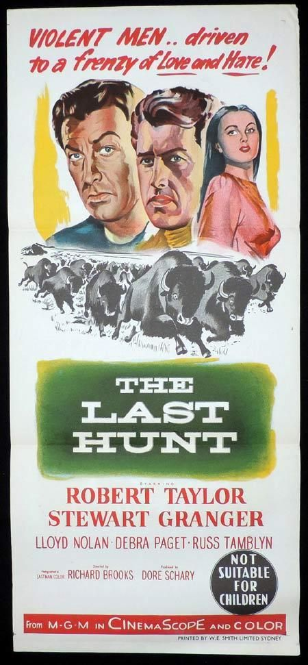 THE LAST HUNT Original Daybill Movie Poster Robert Taylor Stewart Granger
