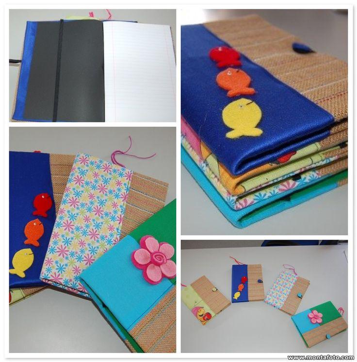 Cadernos A5 forrados com serrapilheira e tecido :)