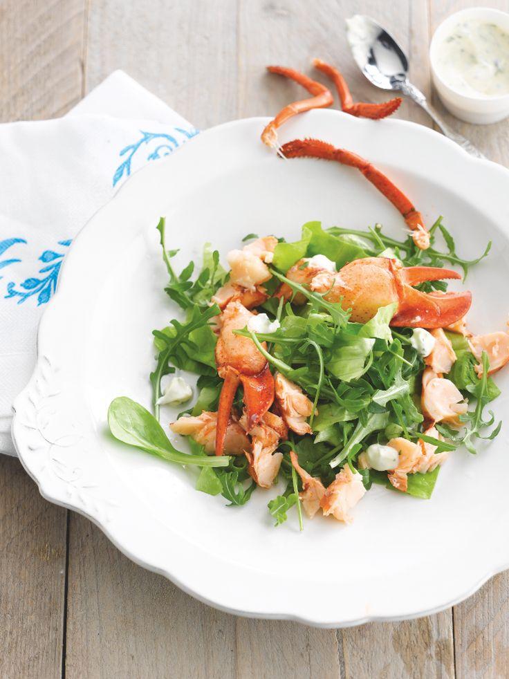 Groene salade met kreeft http://www.njam.tv/recepten/groene-salade-met-kreeft