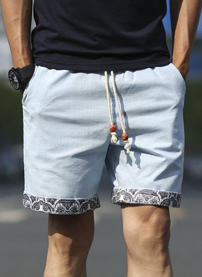 Straight Let Floral Print Purfled Lace-Up  Cotton+Linen Shorts For Men