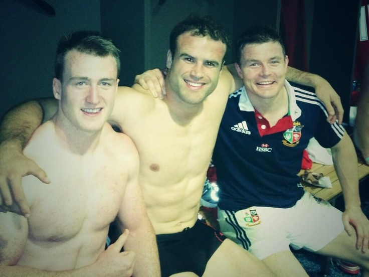 Stuart Hogg, Jamie Roberts & Brian O'Driscoll following the Lions 64-0 hammering of Combined Country. #Lions 2013