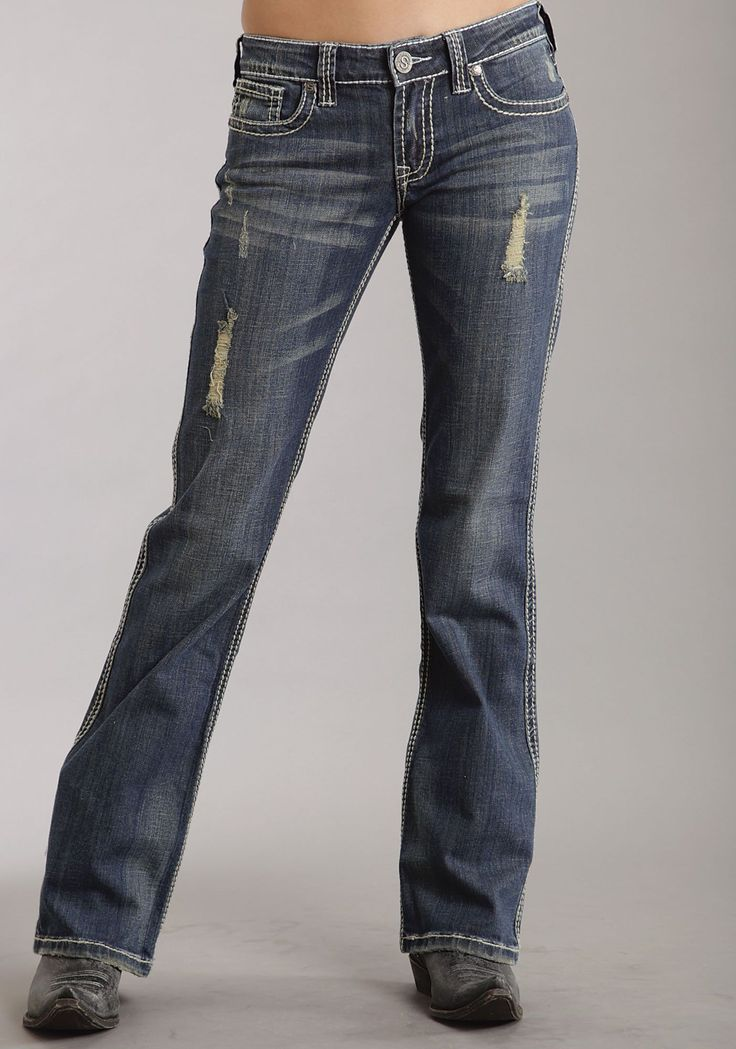 5 Pkt Classic Western Jean Sits Low On The Waist Slim Fit Thigh W/Slightly Flared Leg Stetson Branded Buttons, Rivets And Zippers Whisker Details On Front And B