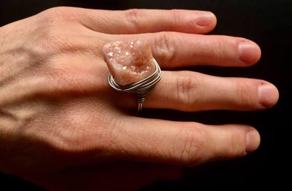 Anillo de druzy rosa Druzy anillo anillo de cuarzo