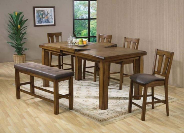 Acme Furniture - Morrison 5 Piece Counter Height Dining Set in Dark Oak - 00845-5SET