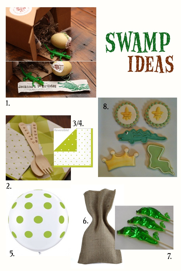 Magnolia Creative Co.: Swamp Party Ideas    1. Swamp Box Invitation, Magnolia Creative Co.   2. Stamped flatware, Magnolia Creative Co.   3/4. Gingham Plates and Polka Dot Napkins, Polka Dot Market   5. Lime Green Polka Dot Balloons, Kara's Party Ideas,   6. Burlap Favor Bags, Kara's Party Ideas 7. Alligator Suckers, Sweetnicks,   8. Alligator Cookies, Silly Gilly Desserts