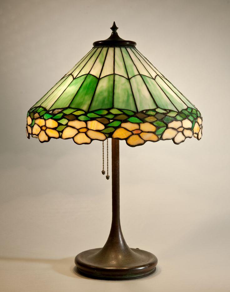 Portable Lamp C 1903 17 Leaded Glass Metal Unique Art