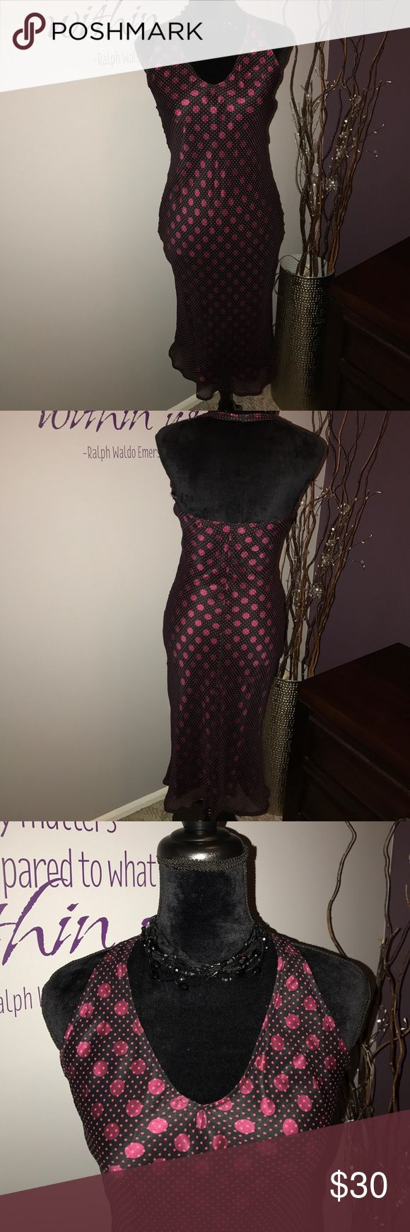 Bebe Annalisa Dress -Brand New! This Halter style dress is gorgeous! The dress is black with Large plum color dots. Then there is a sheer layer over top with smaller plum color dots. Form fitting and true to size. Perfect for that wedding coming up!! bebe Dresses Maxi