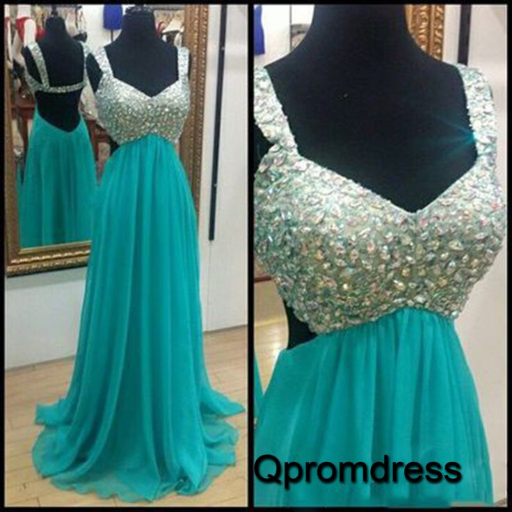 Beaded holoow aqual chiffon prom dress with straps, long homecoming dress 2016 #coniefox