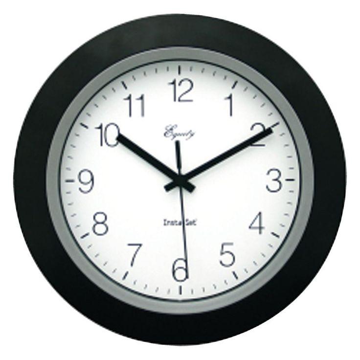 """Equity By La Crosse 10"""" Black Insta-set Wall Clock"""