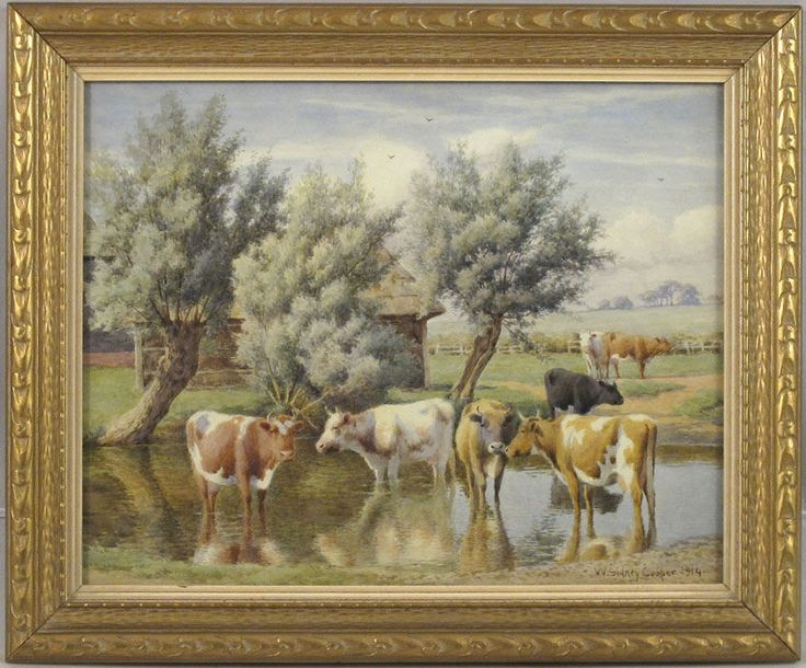 William Sidney Cooper (1854–1927) English Antique Watercolor Pastoral Landscape