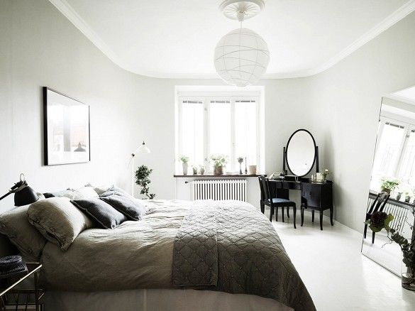Gray bedroom with globe ceiling light