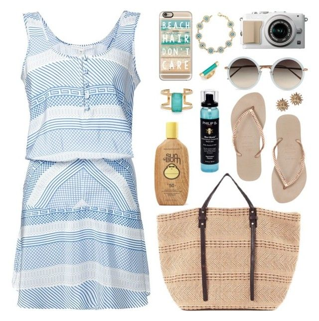 """""""Pack and Go: Greek Islands"""" by captainsolo ❤ liked on Polyvore featuring Linda Farrow, Casetify, Havaianas, Kate Spade, Veronica Beard, Philip B, Leith, Joanna Maxham, Versace and Sun Bum"""