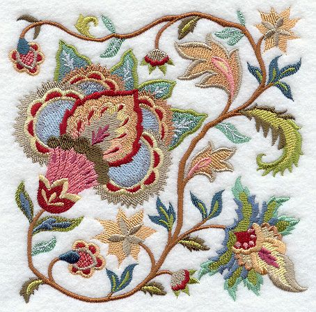 Jacobean Summer Flowers Square 2