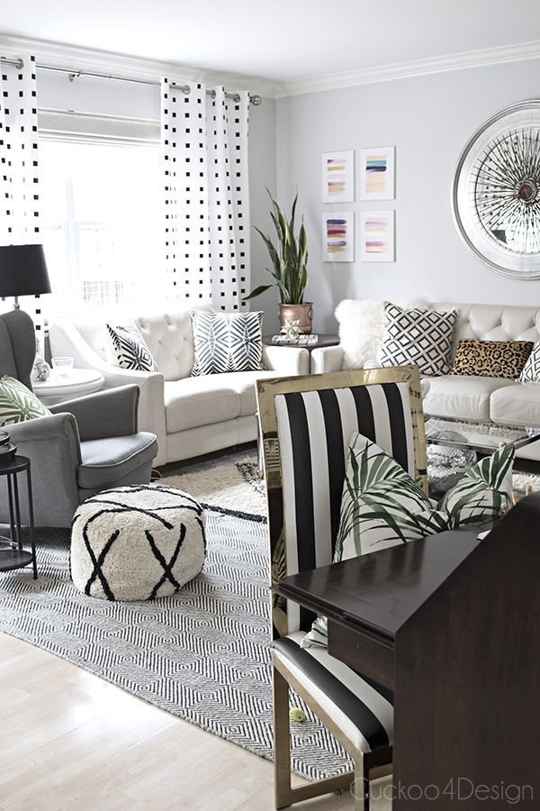 Black and white brass parsons chair makeover in neutral - Pinterest black and white living room ...