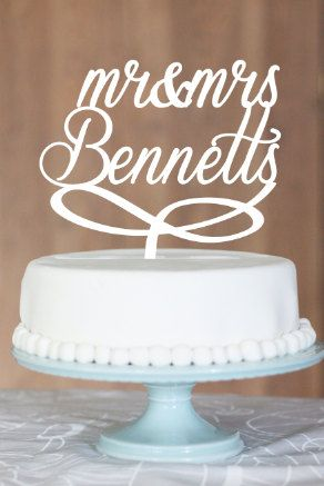 Mr and Mrs Bennetts cake topper Wedding Cake by CommunicakeIt, $45.00