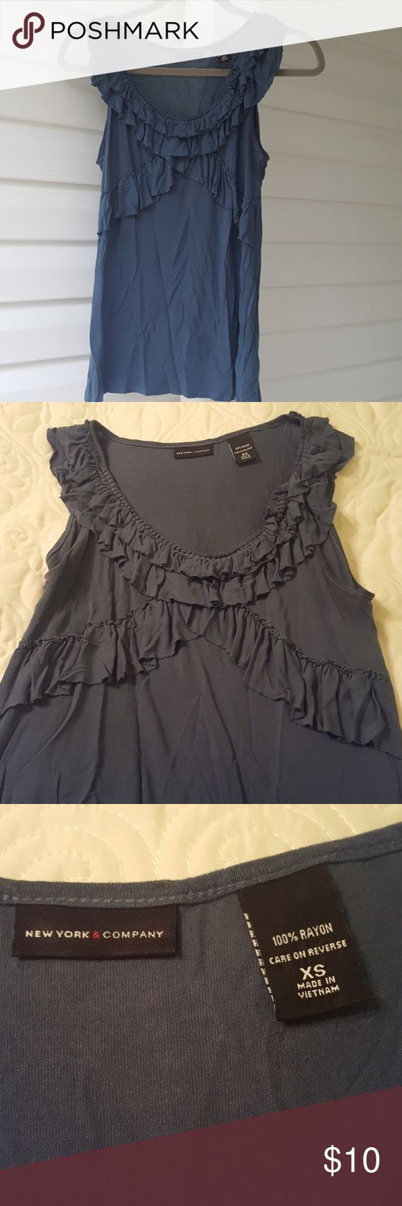 New York and Company blueish-gray tank size XS. New York and Company blueish-gray tank size XS. Lovely ruffles gives the tank a feminine look. Great used condition. Non smoking home. New York and Company Tops Tank Tops
