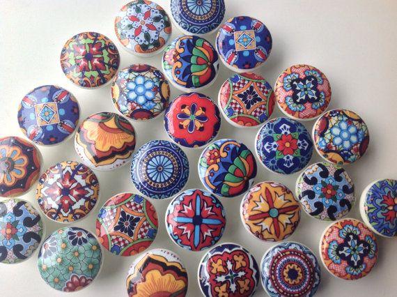 wooden drawer knobs Talavera design  hand decorated by LilandJil