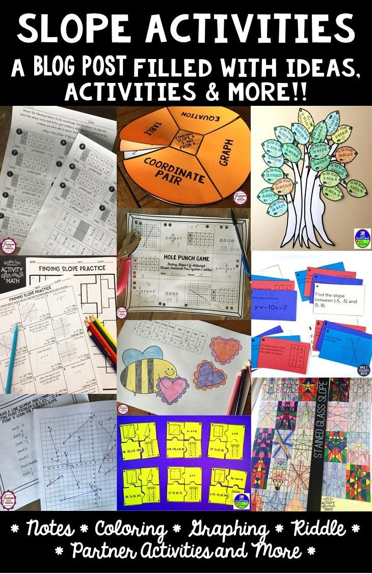Activities tor teaching and practicing slope in Algebra! Includes a slope puzzle, slope interactive notes, a slope tree (makes a great math bulletin board) and other slope activities to engage students. #slope #algebra #algebraactivities