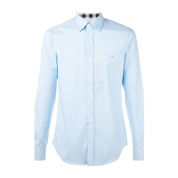 BURBERRY Slim Fit Shirt (645 BRL) ❤ liked on Polyvore featuring men's fashion, men's clothing, men's shirts, men's casual shirts, light blue, mens light blue shirt, mens slim fit casual shirts, mens slim shirts and mens slim fit shirts