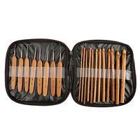 20Stk Häkelnadel Set Bambus Häkeln Stricknadeln Nadeln mit Tasche 1mm - 10mm