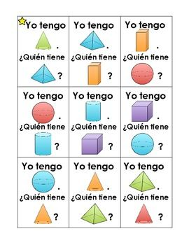 Spanish version of I Have... Who Has...? with 3D shapes - FREEBIE!