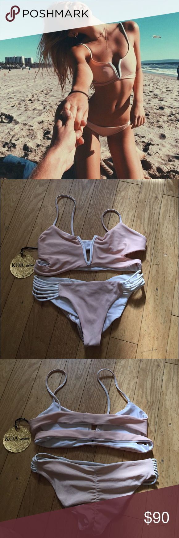 Koa Swim Horizon Top and Bottom Seen on Alexis Ren. Sold out everywhere. There is some fading due to wear but still in overall great condition. Reversible. Open to trading for coulbourne, mikoh, stone fox, acacia, or other designer swimwear. 80$ on ♏️ercari. acacia swimwear Swim Bikinis