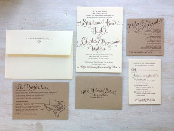 Calligraphy Wedding Invitation - Custom Design - Partial Calligraphy Letterpress or Digital Flat Print