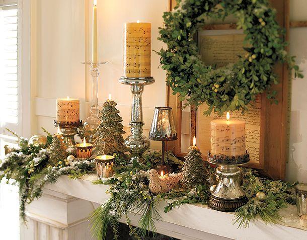 Winter Christmas Mantel via Pottery Barn