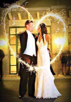 Fun night wedding photo